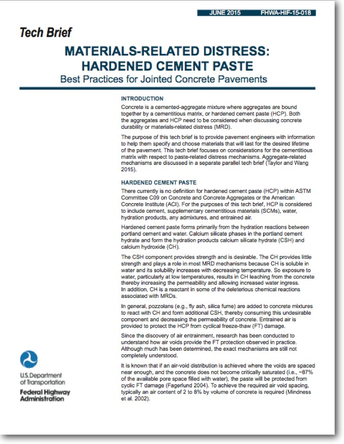 """FHWA Tech Brief: """"Materials-Related Distress: Hardened Cement Paste . . . Best Practices for JCP"""""""