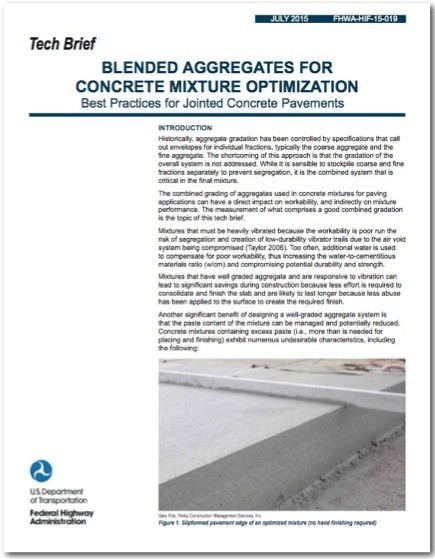 """New FHWA Tech Brief: """"Blended Aggregates for Concrete Mixture Optimization . . . Best Practices for JCP"""""""