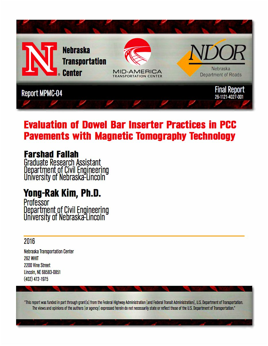 Project Report: Evaluation of Dowel Bar Inserter Practices in PCC Pavements with Magnetic Tomography Technology