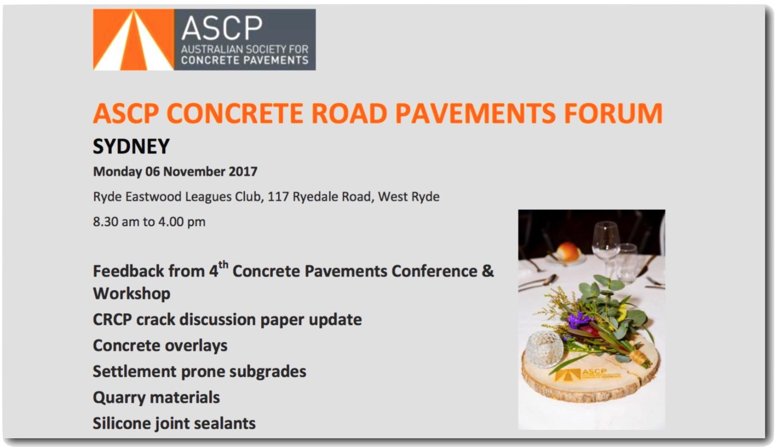 ASCP to Hold Concrete Road Pavements Forum in November, Sydney, Australia